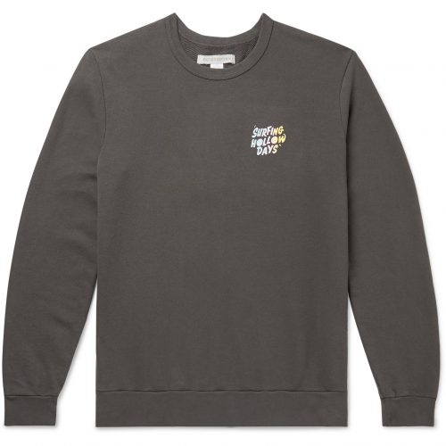 MensOuterknown Printed Loopback Organic Cotton Sweatshirt in Grey