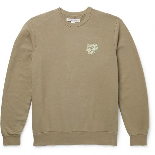 Mens Outerknown Printed Loopback Organic Cotton-Blend Sweatshirt in Green