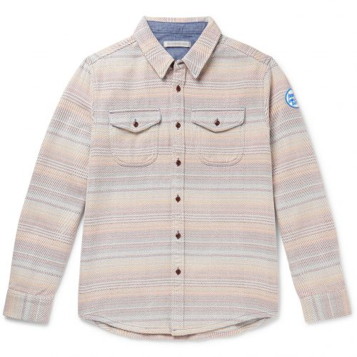 Mens Outerknown Striped Organic Cotton-Jacquard Overshirt Shirt in Multi