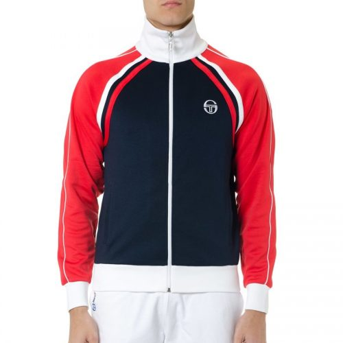 Mens Sergio Tacchini Zipped Track Top in Red Blue & White
