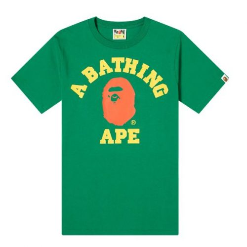 Mens A Bathing Ape Colours College T-Shirt in Green