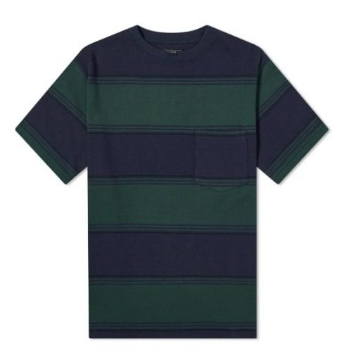Mens Beams Plus 16/- Border Pocket T-Shirt in Navy Blue
