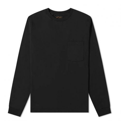 Mens Beams Plus Long Sleeve Pocket T-Shirt in Black