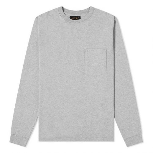 Mens Beams Plus Long Sleeve Pocket T-Shirt in Grey