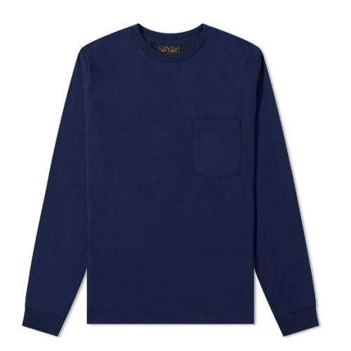 Mens Beams Plus Long Sleeve Pocket T-Shirt in Navy