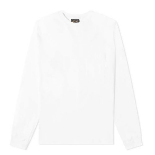 Mens Beams Plus Long Sleeve Pocket T-Shirt in White