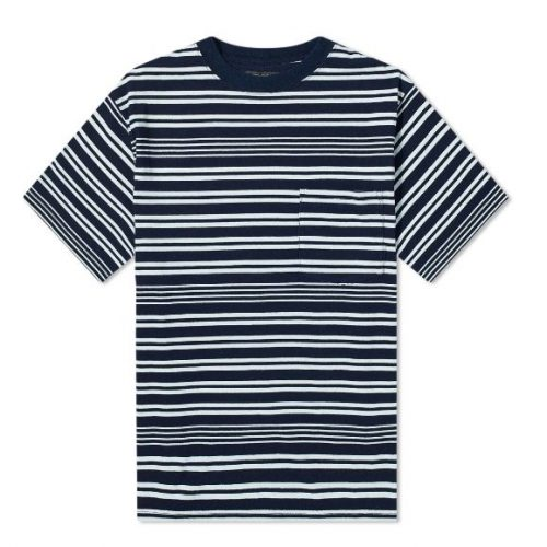 Mens Beams Plus Narrow Stripe Pocket T-Shirt in Navy
