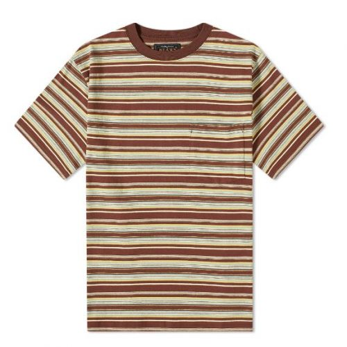 Mens Beams Plus Pocket Stripe T-Shirt in Brown