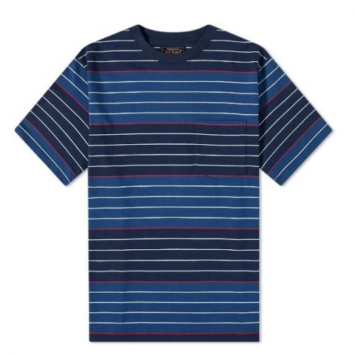 Mens Beams Plus Pocket Stripe T-Shirt in Navy Blue
