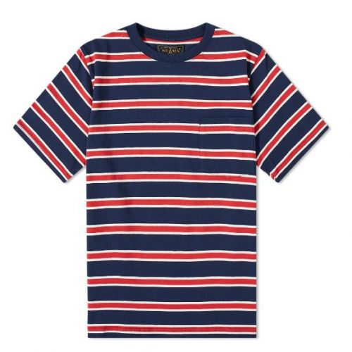 Mens Beams Plus Pocket Tricolour Stripe T-Shirt in Navy Blue