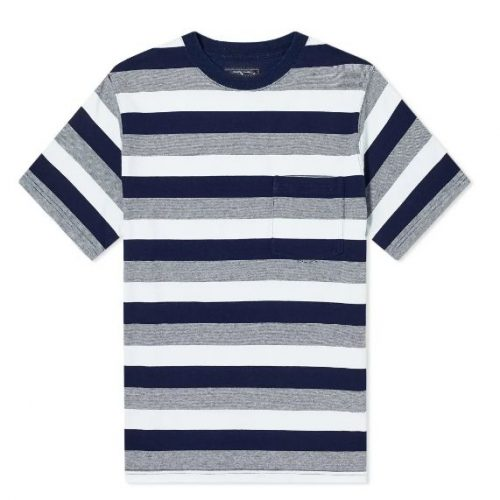 Mens Beams Plus Wide Stripe Pocket T-Shirt in Navy Blue & Grey