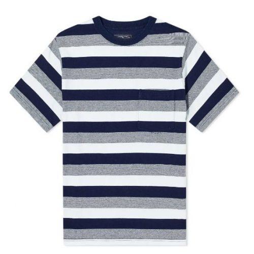 MensBeams Plus Wide Stripe Pocket T-Shirt in Navy Blue & Grey
