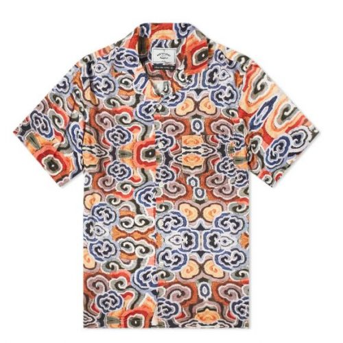 MensPortuguese Flannel Abstract Nature Vacation Shirt in Orange