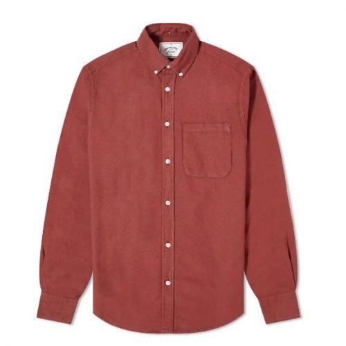 MensPortuguese Flannel Belavista Button Down Oxford Shirt in Bordeaux