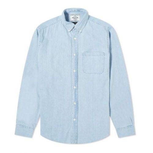 Mens Portuguese Flannel Ganga 3W Button Down Shirt in Blue