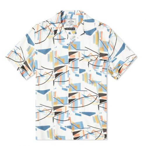 Mens Portuguese Flannel Geometry One Vacation Shirt in White