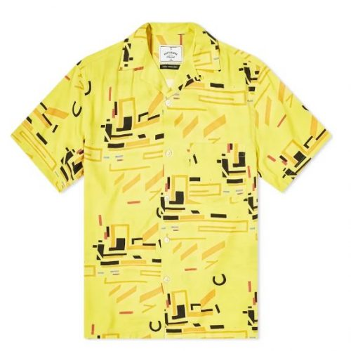 Mens Portuguese Flannel Geometry Two Vacation Shirt in Yellow