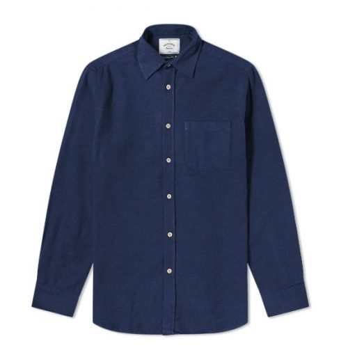 Mens Portuguese Flannel Teca Shirt in Navy Blue