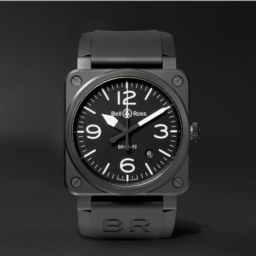 MensBell & Ross Automatic 42mm Ceramic and Rubber Watch in Black