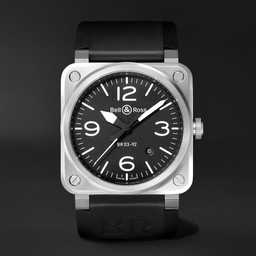 MensBell & Ross BR 03-92 Automatic 42mm Stainless Steel and Rubber Watch in Black & Silver