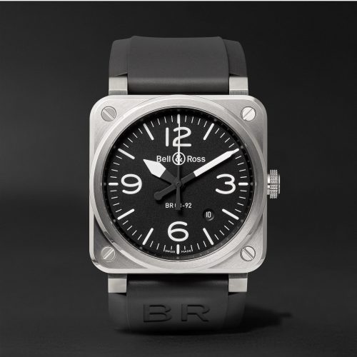 MensBell & Ross BR 03-92 Automatic 42mm Stainless Steel and Rubber Watch in Black