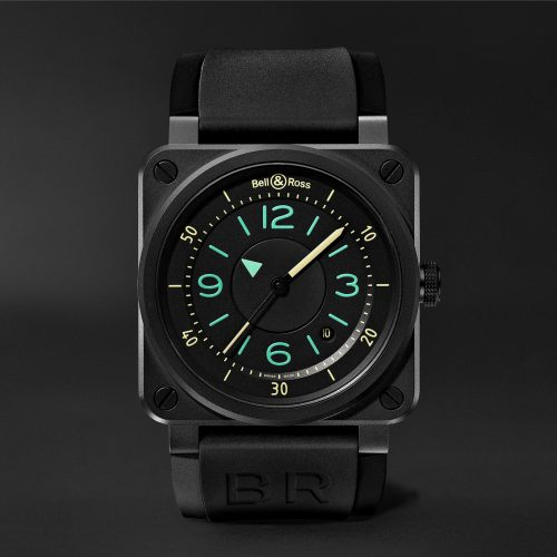 MensBell & Ross BR 03-92 Automatic 42mm Steel and Leather Watch in Black