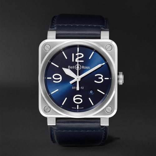 MensBell & Ross BR 03-92 Automatic 42mm Steel and Leather Watch in Blue