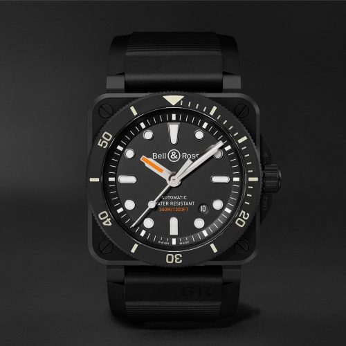 MensBell & Ross BR 03-92 Diver Automatic 42mm Ceramic and Rubber Watch in Black