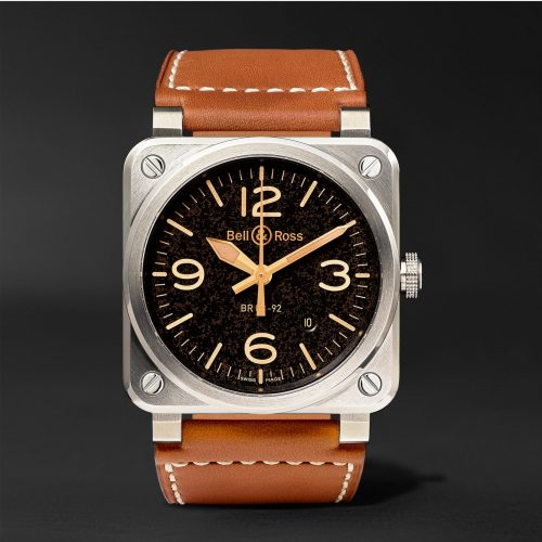 MensBell & Ross BR 03-92 Golden Heritage 42mm Steel and Leather Watch in Black