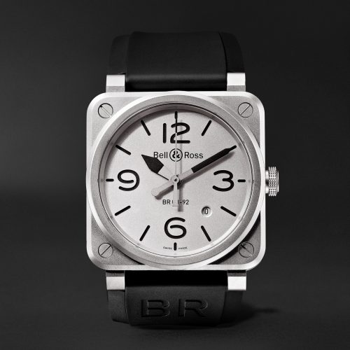 MensBell & Ross BR 03-92 Horoblack Automatic 42mm Steel and Rubber Watch in White