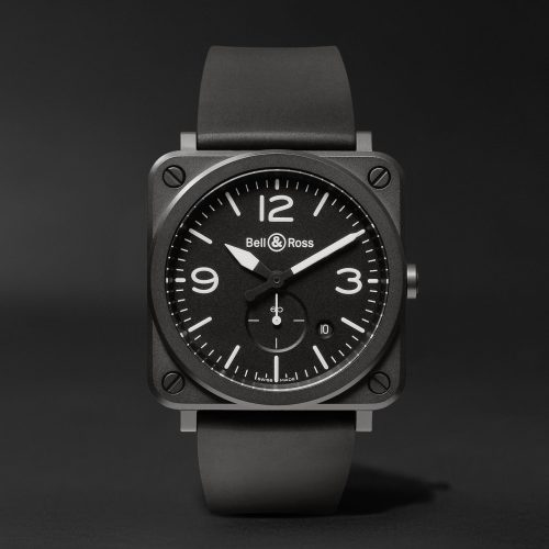 MensBell & Ross BR S 39mm Ceramic and Rubber Watch in Black