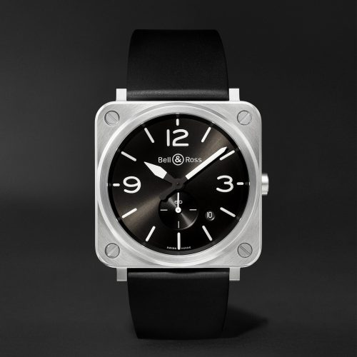 MensBell & Ross BR S 39mm Steel and Rubber Watch in Black