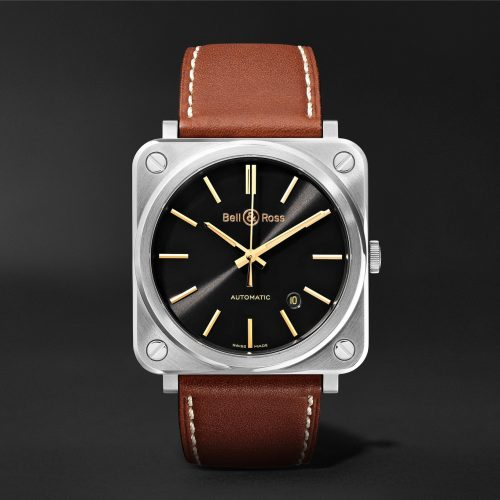 MensBell & Ross BR S-92 Golden Heritage Automatic 39mm Stainless Steel and Leather Watch in Black