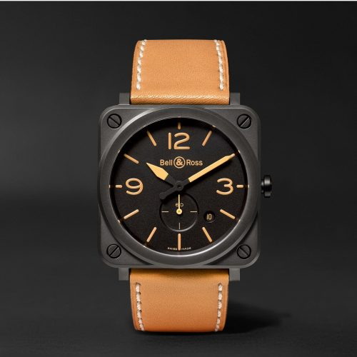 MensBell & Ross BR S Heritage 39mm Ceramic and Leather Watch in Black
