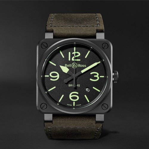 MensBell & Ross BR03-92 Nightlum Automatic 42mm Ceramic and Leather Watch in Black