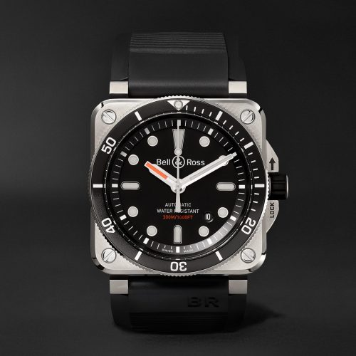 MensBell & Ross Diver Type Automatic 42mm Stainless Steel and Rubber Watch in Black