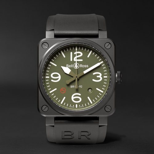 MensBell & Ross Military Type Automatic 42mm Ceramic and Rubber Watch in Green