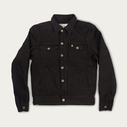 MensShangri-La Heritage Single Rider Jacket in Black Raw Canvas