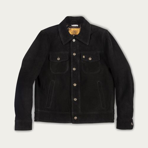 MensShangri-La Heritage Terracotta Suede Western Jacket in Black