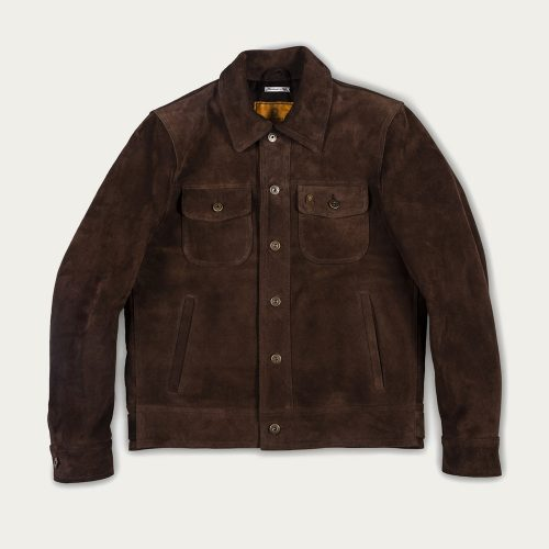 MensShangri-La HeritageTerracotta Suede Western Jacket in Brown