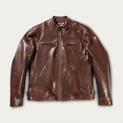 MensShangri-La Heritage Café Racer Leather Jacket in Brown