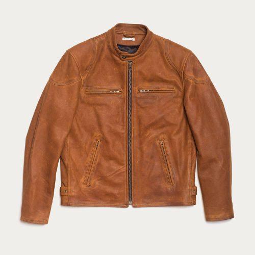 MensShangri-La Heritage Café Racer Nubuck Leather Jacket in Cognac