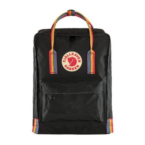 Mens Fjallraven Kanken Rainbow Backpack in Black