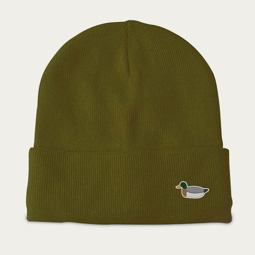 Mens Edmmond Studios Duck Beanie Hat in Green