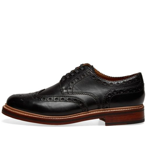 Mens Grenson Archie Brogue Shoes in Black Calf
