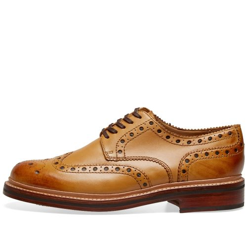 Mens Grenson Archie Brogue Shoes in Tan Calf Leather