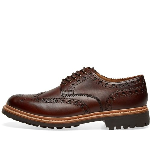Mens Grenson Archie C Brogue Shoes in Brown Hand Painted