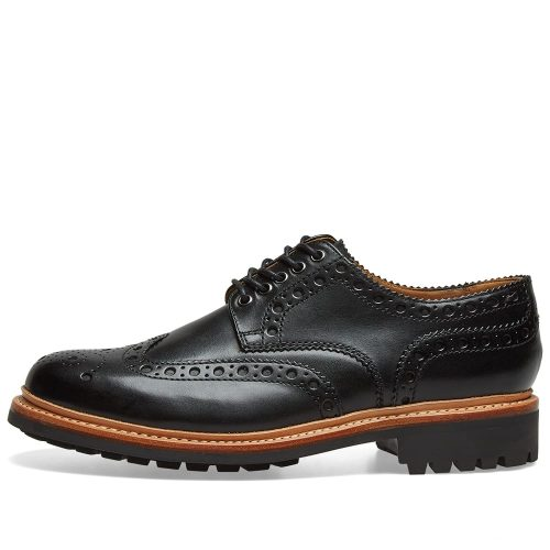 Mens Grenson Archie C Brogue Shoes in Black Calf Leather