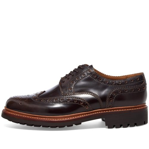 Mens Grenson Archie Commando Brogue Shoes in Walnut Brown