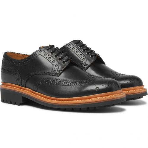Mens Grenson Archie Wingtip Brogue Shoes in Black Leather